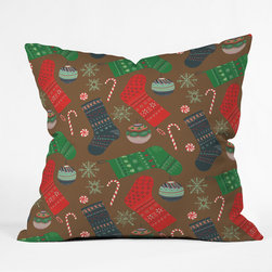 DENY Designs - DENY Designs Pimlada Phuapradit Christmas Ornaments Throw Pillow - Wanna transform a serious room into a fun, inviting space? Looking to complete a room full of solids with a unique print? Need to add a pop of color to your dull, lackluster space? Accomplish all of the above with one simple, yet powerful home accessory we like to call the DENY Throw Pillow! Available in four sizes, our throw pillow is made from a medium weight woven polyester with a hidden zipper and removable bun insert.