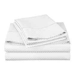 "Cotton Rich 800 Thread Count California King Sheet Set - White - Dress up your bedroom decor with this luxurious 800 thread count Cotton Rich microchecker sheet set.  These sheets are made of a superior quality blend of 55% Cotton and 45% Polyester making them soft, wrinkle resistant, and easy to care for. Set includes: (1) Fitted Sheet 72""x84"", (1) Flat Sheet 108""x102"", and (2) Pillowcases 20""x40"" each."