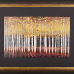 "Paragon Decor - Trees Artwork - Brighten up those boring walls with this colorful piece, ""Trees"" which features a vertical strip-panel depiction of a beautiful forest of golden amber- and vermillion-colored trees in the late hazy afternoon. This piece resembles the views one might see while driving along the side of a country road. It is disorienting, yet beautiful and abstract. It is surrounded by a black matte and antiqued frame. This piece measures 57 inches wide, 1 inch deep, and 42 inches high."