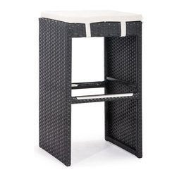 ZUO - Marrakesh Bar Stool - Claiming the merest whiff of the exotic, the Marrakesh Single Bench Bar Height adds mystery to your kitchen. Boasts espresso colored weave over a steel frame offset by a white cushion. Hook your heels on the footrest and toss back a martini.
