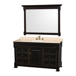 Wyndham Collection - Andover  Single Black 60 in. with White Undermount Sink and Mirror - Wyndham Collection, the beautiful Andover bathroom vanity series represents an updated take on traditional styling. The Andover is a keystone piece, with strong, classic lines and an attention to detail.
