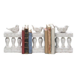 Home Decorators Collection - Birds on Fence Bookends - Set of 3 - Whether used to prop up your favorite volumes on your bookcase, or as beautiful accent pieces elsewhere in your home, these bookends will complement the look of your decor with vintage-inspired elegance. Each features a graceful design of gently curving columns topped with a whimsical bird motif that you are sure to love. Make your purchase today and add the casual style of this set of home accents to your space. Slightly distressed look will complement most any decor. A lovely ivory finish completes the look.