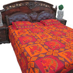 Indian Bedding cotton Bedspreads with Pillow Cover - Enhance your bedroom by adding this lively hues of orange, red, yellow and green color bed cover set from India.