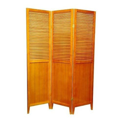 Oriental Unlimited - Beadboard Room Divider with Venetian Style Sl - Choose Number of Panel: 4 PanelPanels are constructed using fine mortise and tenon joinery, durable, and beautifully finished. Lacquered brass, two way hinges mean you can bend the panels in either direction. 15.75 in. W x 3/4 in. D x 63 in. H (each panel)An attractive, well-crafted room divider, perfect where a simple, contemporary look is preferred. The beadboard on the bottom gives a French country feel while the venetian blind style at the top allows air and light to pass through the off set slats.