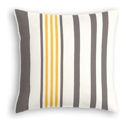 Grey, Yellow, & White Stripe Custom Outdoor Pillow - Add some punch to your patio or porch with a custom Simple Outdoor Pillow.  With clean contemporary lines and weather-friendly construction, it's sure to keep your outdoor oasis looking chic for years to come. We love it in this white, gray and yellow outdoor stripe that's just hankering for those wide open spaces.