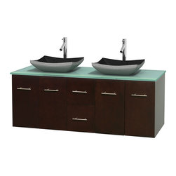 """Wyndham Collection - Centra 60"""" Espresso Double Vanity, Green Glass Top, Altair Black Granite Sinks - Simplicity and elegance combine in the perfect lines of the Centra vanity by the Wyndham Collection. If cutting-edge contemporary design is your style then the Centra vanity is for you - modern, chic and built to last a lifetime. Available with green glass, pure white man-made stone, ivory marble or white carrera marble counters, with stunning vessel or undermount sink(s) and matching mirror(s). Featuring soft close door hinges, drawer glides, and meticulously finished with brushed chrome hardware. The attention to detail on this beautiful vanity is second to none."""