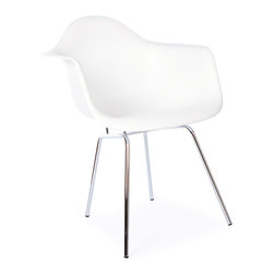 "Vertigo Interiors USA - High Quality Eames Style Classic DAX Metal Leg Dining Lounge Arm Chair, White - The Eames Style DAX Arm Chair features the a four legged ""H"" base with a Polypropylene seat. This chair is easy to clean and extremely durable, making it perfect for any dining area."