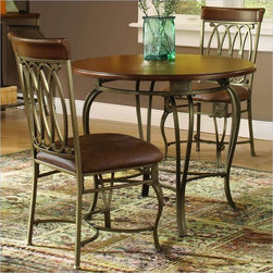 """Hillsdale - Hillsdale Montello 3-Piece 36"""" Round Dining Table Set - Hillsdale - Dinette Sets - 41541DTB36C3 - Casual dining gets more elegant and romantic with the historic tradition and modern dynamics combined in the Montello Round Dining Table by Hillsdale. Intricate castings and elegantly curved legs create a table with grace movement and sophistication. This transitional style table fuses modern and classic aesthetics for a highly original dramatic and stylized result."""