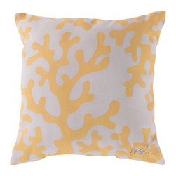 """Surya - Coral Square Decorative Pillow RG-043 - 18"""" x 18"""" - Enjoy a tranquil reminder of the beach in your space with this cool coral pillow. Featuring an exquisite yellow coral design splashed pristinely against a quaint cream backdrop, this piece is sure to spice up your space. This pillow contains a Virgin Poly Styrene Bead fill providing a reliable and affordable solution to updating your indoor or outdoor decor."""