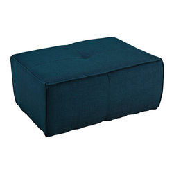 LexMod - Align Upholstered Ottoman in Azure - There are sectional sets that claim to be modern by portraying some enlightened path forward. But for every one of these efforts, is an equal and opposite reaction. The more we use our own guile to paddle forward, the more the stream of present reality seems to rush against us. Align was designed as an attempt to wash away those hindrances that obstruct growth. If there had been a choice, the designers would have kept Align just that. But while a sectional sofa set needs to be made curved, the intent was to stay true to the original concept. Align comes generously padded and upholstered in fine fabric, with slight button tufting and trim for only the gentlest effect.