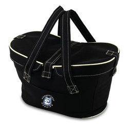 Picnic Time - University of Connecticut Mercado Picnic Basket in Black - This Mercado Basket combines the fun and romance of a basket with the practicality of a lightweight canvas tote. It's made of polyester with water-resistant PEVA liner and has a fully removable lid for more versatility. Take it to the farmers market, the beach, or use it in the car for long trips. Carry food or sundries to and from home, or pack a lunch for you and your friends or family to share when you reach your destination. The Mercado is the perfect all-around soft-sided, insulated basket cooler to use when you want to transport a lunch or food items and look fashionable doing it.; College Name: University of Connecticut; Mascot: Huskies; Decoration: Digital Print; Includes: 1 removable canvas lid