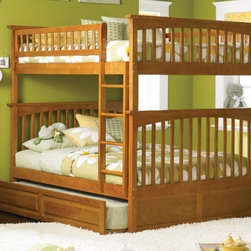 Columbia Bunk Full bed full/full in Caramel Latte by Atlantic Furniture - The Columbia Bunk Bed is the perfect mission-style bunk bed for your children's bedroom. Available in twin-over-twin, twin-over-full, or twin-over-futon designs with railings on the top bunk, the sturdy Columbia Bunk Bed is constructed of solid hardwood. Add optional under-bed storage drawers or an optional trundle unit (neither option works with twin-over-futon style) under the bed to provide even more convenient space. The bunk bed comes with two modesty panels, which can be attached to both ends of the bunk bed to give the Columbia Bunk Bed a more grounded look. Available in Natural Maple, Antique Walnut, and White finishes, the Columbia Bunk Bed is sure to become your child's favorite sleepy-time fort.