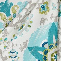 Sunzani in Capri - Aqua suzani indoor outdoor fabric.