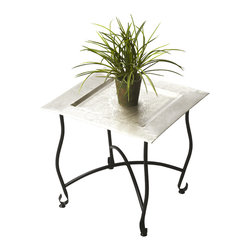 Butler Specialty - Butler Moroccan Tray Table - Inspired by a traditional Moroccan tea table, this tray table is embellished with a traditional design on its aluminum serving tray. The lightweight aluminum tray nests securely in the base, and the aluminum base folds flat for easy storage. This piece is destined to be a unique conversation piece in any space.