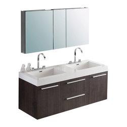 Fresca - Fresca Opulento Black Modern Double Sink Bathroom Vanity w/ Medicine Cabinet, Gr - Fresca Opulento Gray Oak Modern Double Sink Bathroom Vanity w/ Medicine Cabinet