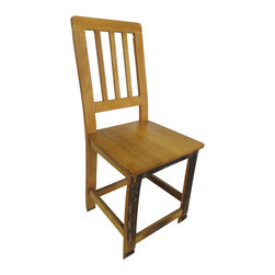 "Master Garden Products - Stave Oak Wood Chair, 16""L x 38""H x 18""W - Our stave oak chair is made of 100% reclaimed oak wood staves from used wine barrels. It is tastefully designed and structurally built. Traditional mortise and tenon joinery are used throughout the construction and finished with polyethylene semi-cross for a scratch resistant finish.  Each used barrel is taken apart, while staves are kiln dried and then re-planed. Some are steam pressed flat and some are used just the way they are.  They can be used at home and are also great for restaurants or any other kind of commercial and institutional premises."