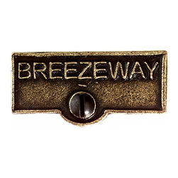 Renovators Supply - Switch Plate Tags Antique Brass 1 11/16'' W BREEZEWAY Switch Tag - Forget which switch is for what? Try our ID switchplate tags and identify your switches. Our switchplate ID tags are made from SOLID CAST BRASS and come with a TARNISH-RESISTANT ANTIQUE BRASS finish. EASY installation and fits standard switchplates. Coordinating screw included. Measures 13/16 in. H x 1 11/16 in. W.