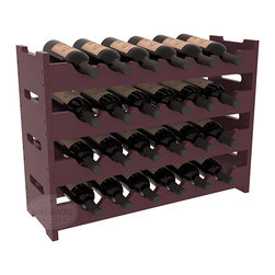 24 Bottle Mini Scalloped Wine Rack in Pine with Burgundy Stain + Satin Finish - Stack four 6 bottle racks for proper storage of 24 wine bottles. This rack requires light hardware for assembly and is ready to use as soon as it arrives. Makes the perfect gift and stores wine on any flat surface.
