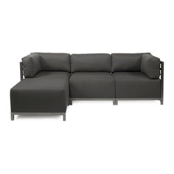 Howard Elliott - Sterling Charcoal Axis 4-piece Sectional - Titanium Frame - A Fashionable Trio! Lounge in style on a Sterling Axis 4pc Sectional will intoxicate your room with its uplifting style. Float the Sterling Axis 4pc Sectional in your room for an intimate seating arrangement. Expand your sectional with additional Chair, Corner or Ottoman Pieces. This piece features boxed cushions with Velcro attachments to keep the cushions from slipping and looking their best all of the time. Your Sterling Axis 4pc Sectional will definitely turn heads with its sophisticated linen-like texture and vibrant color selection. This Sterling Charcoal piece is 100% Polyester finished in a soft burlap texture in a charcoal grey color. 95.5 in. W x 63 in. D x 30 in. H