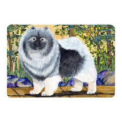 Caroline's Treasures - Keeshond Kitchen or Bath Mat 24 x 36 - Kitchen or Bath Comfort Floor Mat This mat is 24 inch by 36 inch. Comfort Mat / Carpet / Rug that is Made and Printed in the USA. A foam cushion is attached to the bottom of the mat for comfort when standing. The mat has been permanently dyed for moderate traffic. Durable and fade resistant. The back of the mat is rubber backed to keep the mat from slipping on a smooth floor. Use pressure and water from garden hose or power washer to clean the mat. Vacuuming only with the hard wood floor setting, as to not pull up the knap of the felt. Avoid soap or cleaner that produces suds when cleaning. It will be difficult to get the suds out of the mat.