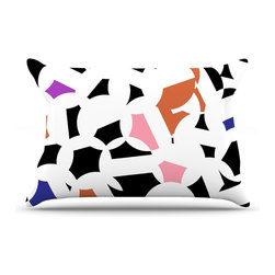 "Kess InHouse - Gabriela Fuente ""Geo Fun"" White Multicolor Pillow Case, King (36"" x 20"") - This pillowcase, is just as bunny soft as the Kess InHouse duvet. It's made of microfiber velvety fleece. This machine washable fleece pillow case is the perfect accent to any duvet. Be your Bed's Curator."