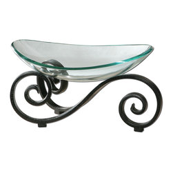 Uttermost - Arla Glass Bowl - This gorgeous glass bowl really stands out! The black metal base with a crackled finish cradles a clear glass bowl. Fill it with fresh citrus fruits, potpourri or seasonal objects like pine cones.