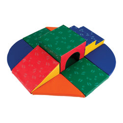 Ecr4kids - Ecr4Kids Softzone Kids Color Shape Primary Lincoln Tunnel Climber Block - Up, Down and All Around. Kids will be captivated by all the fun tunnels and cozy corners in this unique climber. Tunnels have higher-density foam to keep kids safe while they're exploring. Soft, sturdy, polyurethane foam shapes are covered in reinforced, phthalate-free vinyl to create a comfy and stimulating learning environment. Encourages climbing, crawling, social interaction and develops gross motor skills.
