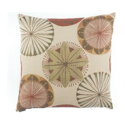 "Canaan - 24"" x 24"" Noemi Floral Starburst Pattern Throw Pillow - 24"" x 24"" Noemi floral starburst pattern throw pillow with a feather/down insert and zippered removable cover. These pillows feature a zippered removable 24"" x 24"" cover with a feather/down insert. Measures 24"" x 24"". These are custom made in the U.S.A and take 4-6 weeks lead time for production."