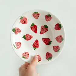 Small Ceramic Strawberry Print Bowl by Kim Legler - The strawberries on this plate have a modern, whimsical style. I like how they are not uniform in color, giving it a real handmade feel.