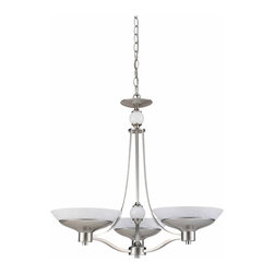 Triarch - Triarch Halogen Vi Chandelier X-SB-36492 - Halogen VI - Beautiful Hand-Blown White Art glass, set in to cool Brushed Steel, is the key to this stunning look.