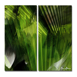Ready2HangArt - Ready2HangArt Alexis Bueno 'Abstract Palm Leaves' 2-piece Canvas Wall Art - This tropical abstract canvas art set is the perfect addition to any contemporary space. It is fully finished, arriving ready to hang on the wall of your choice.