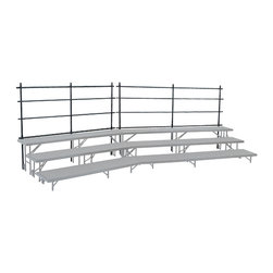 National Public Seating - National Public Seating Back Guard Rails For 24 Inch Tapered Risers in Black - National Public Seating's Guardrails keep students safe during school performances and concerts. Four horizontal rails prevent students from falling off the back of the riser. The 14-gauge tubular steel guardrail mounts to the riser's legs for ultimate stability.