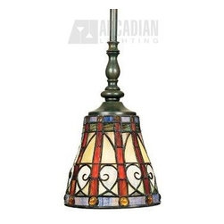 Quoizel - Quoizel QZ-TFAV156VB Ava Traditional Tiffany Mini Pendant Light - Carefully selected jewel tones harmonize exquisitely in this stunning piece. Genuine art glass in shades of crimson, saffron, sapphire and emerald are complemented by round amber jewels, setting your room aglow with rich color. Metal accents are curled into an abstract heart shape adorning this handcrafted work of art.