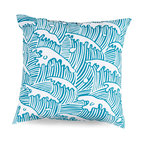 Aqua Waves Outdoor Pillow - The magnificent power of the ocean is conveyed through arching lines and the minimal element of splashing foam in the all-over design of the Aqua Waves Outdoor Pillow. Especially apt in Asian-themed exteriors but dramatic and expressive in any context indoors or out, this pillow is brightly and simply colored, but its visual impact is unmistakable.