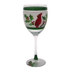 Golden Hill Studio - Cardinal Wineglass - From Champagne to eggnog to mulled wine, this hand-painted wineglass knows that when you mix spirits and a holiday party, hope springs eternal. So fill the glass and get under the mistletoe quick! See more from the Cardinal Glassware collection.