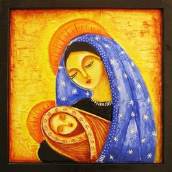 Mother Merry With Baby Jesus (Original) by Swati Jadhav - This is clay mural art showing motherly love of mother Merry and baby Jesus. This art is made on wooden base textured with clay. Mother Merry and baby Jesus are also made up of clay which elevates around half inch above the backdrop. The whole art is encompassed by handcrafted wooden frame. The vibrant colors on contrasting background brings up the 3D effect .This art has protective shield of triple glaze gloss, which also enhances the art.