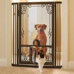 """Frontgate - 42""""H Tension-mount Dual Door Steel Mesh Pet Gate Dog Gate - Steel frame for superior strength and stability and to withstand dog bites and scratches. Auto-close feature on both doors. Soft, non-marring felt pads protect walls. Easily installs in doorways that are 33.5""""-37.5"""" wide (view assembly instructions). Crafted with fine mesh panels instead of traditional bars, our Tension-mount Dual Door Gatecan safely contain even the smallest pets. Intricate filigree accents and a warm oil-rubbed bronze finish also complement your decor. The dual doors allow selective use for pets of various sizes.  .  .  .  ."""