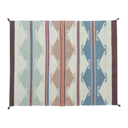 5'X7' Area Rug, Navajo Design Hand Woven Flat Weave 100% Wool Rug SH11463 - Soumaks & Kilims are prominent Flat Woven Rugs.  Flat Woven Rugs are made by weaving wool onto a foundation of cotton warps on the loom.  The unique trait about these thin rugs is that they're reversible.  Pillows and Blankets can be made from Soumas & Kilims.