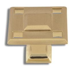 Atlas Homewares - Satin Brass Modern Craftsman Knob (ATH4007B) - Satin Brass Modern Craftsman Knob