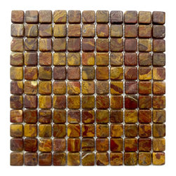 "Marbleville - Multi Red Onyx 1"" x 1"" Tumbled Mesh-Mounted Mosaic in 12"" x 12"" Sheet - Premium Grade Multi Red Onyx 1"" x 1"" Square Pattern Tumbled Finsih Mesh-Mounted Onyx Mosaic is a splendid Tile to add to your decor. Its aesthetically pleasing look can add great value to any ambience. This Mosaic Tile is made from selected natural stone material. The tile is manufactured to high standard, each tile is hand selected to ensure quality. It is perfect for any interior projects such as kitchen backsplash, bathroom flooring, shower surround, dining room, entryway, corridor, balcony, spa, pool, etc."