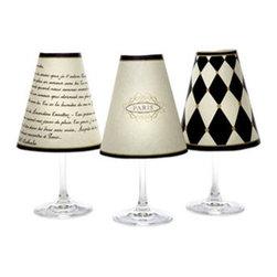 diPotter LLC - Paris Wine Shades (Parchment) - 6 Paper Wine Shades 2 each of 3 designs