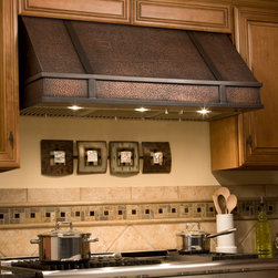 "48"" Limoges Series Copper Wall-Mount Range Hood - Add this hand-hammered copper range hood to complete your gourmet kitchen. The 48"" Limoges Series Copper Wall-Mount Range Hood includes three dimmable halogen lights and removable filters."