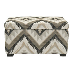 Safavieh - Madison Storage Bench, Tribal Design - Good things come in small packages. Crafted with linen blend tribal print upholstery, and birch wood in a black finish, the small Madison Storage Ottoman brings soft, modern style to any interior. Perfect for storing extra blankets, remotes or even extra throw pillows, it also adds the ever-elusive extra seating at your next soiree.