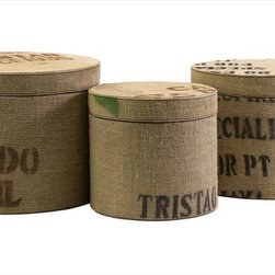 "Imax Worldwide Home - Tavin Jute Fabric Round Boxes - Set of 3 - This set of three round boxes are great for office storage and feature a jute fabric exterior and stencil typographic design.; Country of Origin: Indonesia; Weight: 3.49 lbs; Dimensions: 8.5-9.25-10""h x 9.5-11.25-12.75""d"