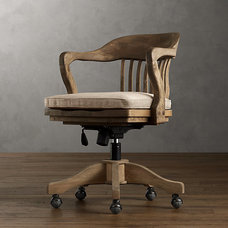 1940s Banker's Chair Weathered Oak Drifted   Office   Restoration Hardware