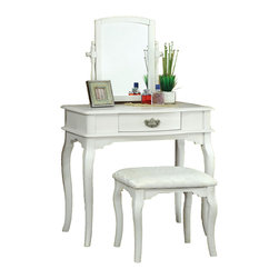 Adarn Inc. - 3 PC Large Swivel Mirror Make up Table Upholstered Stool Vanity Set, White - This contemporary vanity set will be a stunning addition to your bedroom or dressing area. Create a serene place to prepare for your day, or an energizing spot to dress for a big night out. The vanity has beautiful lines and a center drawer to store brushes and frequently used items.