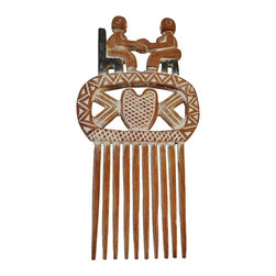 Consigned Large Hand Carved African Wedding Comb W/ couple - Lovely Ashanti Tribe Ghana  Hand carved  wedding comb