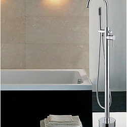 Bathtub Faucets - Contemporary Chrome Finish Floor Standing Tub Faucet with Hand Shower--faucetsmall.com