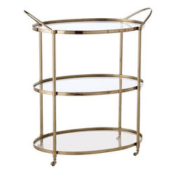 Arteriors Home - Arteriors Home Connaught Polished Nickel Bar Cart - Arteriors Home 3077 - Drinks are served! So are appetizers, side dishes, the roasted turkey and anything else you don't have room for on your table. It's much more than a gorgeous bar cart with three glass shelves on a rolling frame. It's an extra pair of hands.