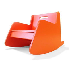 Spot on Square Hiya Rocker - 2 Colors - Designed by modern parents Bob and Nicole Springer (left) who believe in providing modern parents with new options in furniture for their modern tots, the Hiya Series was named after their son... a nickname given to him by his twin sister as soon as she could utter her first words. The Hiya series conveys a childlike sense of purity, simplicity and sustainability. Designed by: Bob and Nicole Springer Features: -Made from recycled MDF. -Eco-friendly non-toxic paint. -Book bin in the back for storage. -Extra-wide seat allows 2 small children to read together. -Some assembly required.